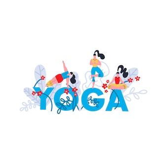 Yoga practice print. seminar on yoga, festival, lesson, event. banner with bright blue word yoga, tropical and exotic leaves and flowers and girls in poses and asanas. flat  illustration.