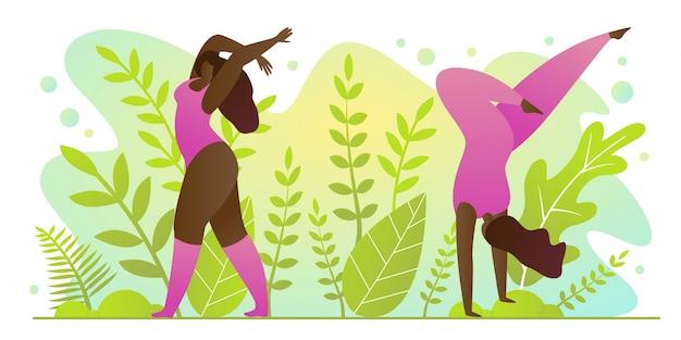 Yoga practice for summer in park cartoon flat