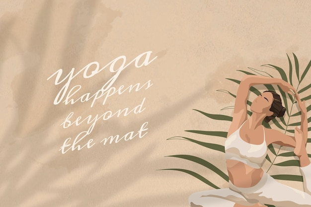 Йога цитата редактируемый шаблон вектор йога произошла за пределами коврика