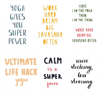 Yoga quotes vector set collection