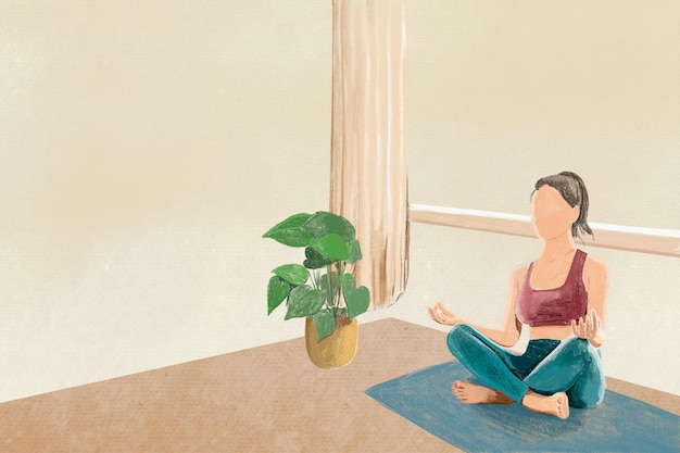 Yoga and relaxation background color pencil illustration