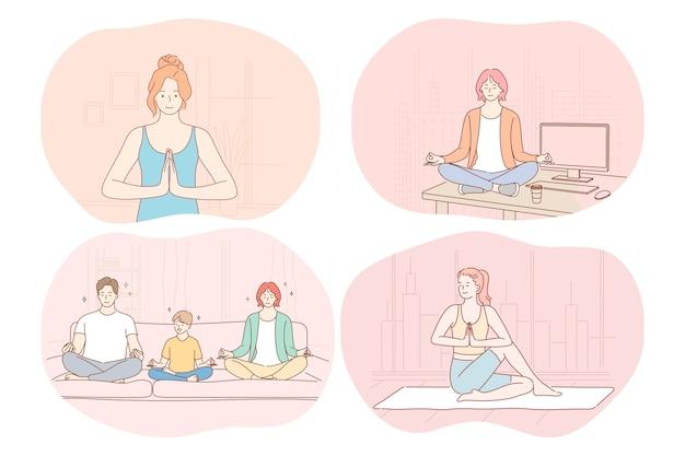Йога, релаксация, медитация, концепция здорового активного спортивного образа жизни. молодые люди, семьи, мужчины