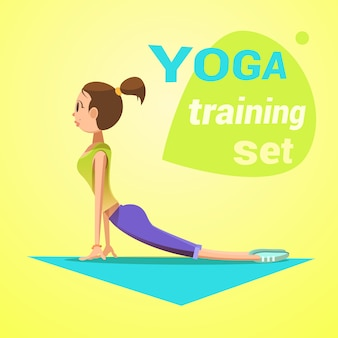 Yoga retro cartoon with young girl in snake pose