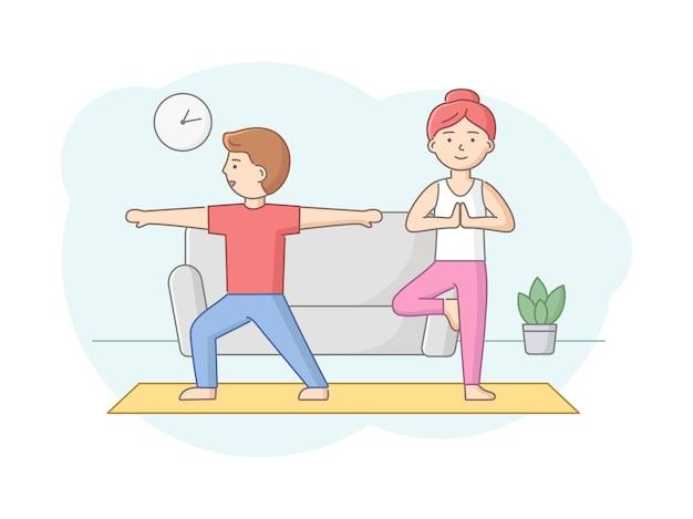 요가 학교, 건강 관리 및 활동적인 스포츠 개념. 남자와 여자는 체육관이나 집에서 요가를합니다. 캐릭터는 실내에서 요가 수업을 듣고 건강한 라이프 스타일을 선도하고 있습니다. 만화 평면 벡터 일러스트 레이 션.