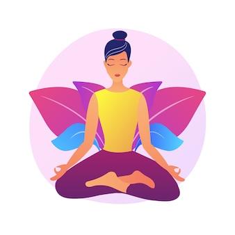 요가 학교 강사. 명상 연습, 이완 기술, 신체 스트레칭 운동. 로터스 포즈의 여성 요기. 영적 균형 전문가.