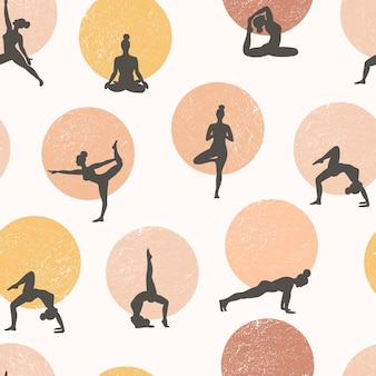 요가 완벽 한 패턴입니다. 건강한 생활. 명상하고 운동하는 사람들.