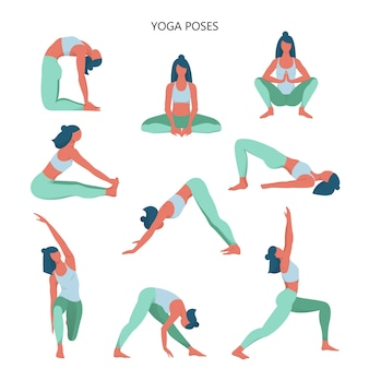 Yoga set. collection of asana for body