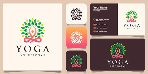 Yoga shape in abstract tree logo design