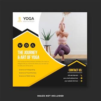 Пост о йоге в социальных сетях и занятия йогой в баннере instagram