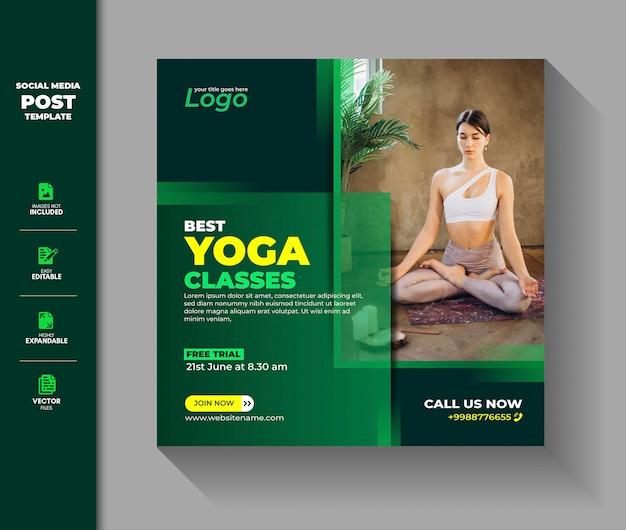 Yoga social media post instagram banner