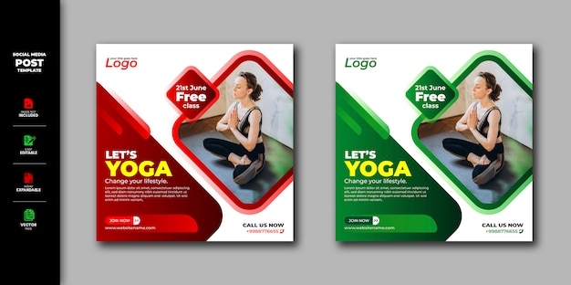 Yoga social media post instagram square banner