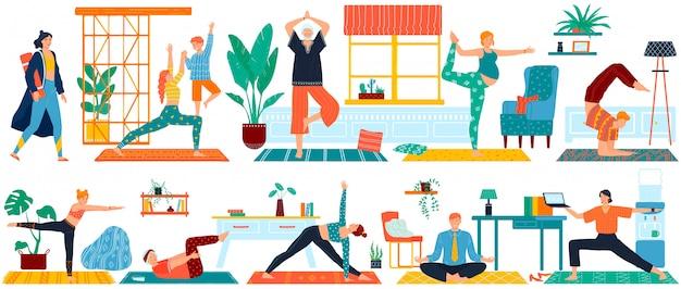 Йога спортивные упражнения для мужчины, женщины, беременные и пожилые набор иллюстрации людей, занимающихся йогой медитации и фитнеса.