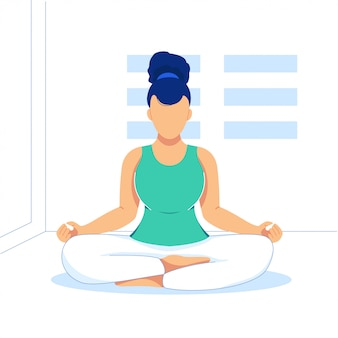 Yoga sport flat illustration on room
