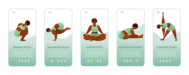 Yoga standing and seated poses onboarding mobile app screen  template. bodypositive female. walkthrough website steps with flat characters. ux, ui, gui smartphone cartoon interface concept
