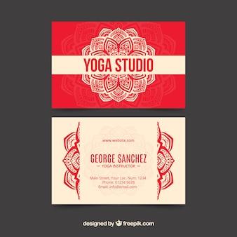 Yoga studio card with hand drawn mandala Free Vector