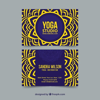 Yoga studio card with mandala