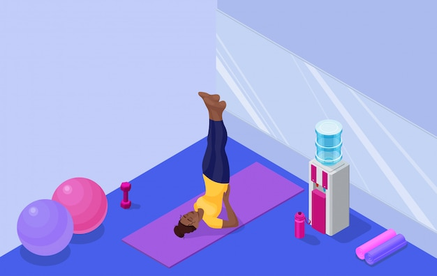 Yoga studio interior with african woman doing fitness exercise