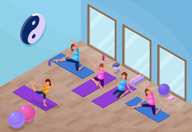 Yoga studio interior with pregnant woman