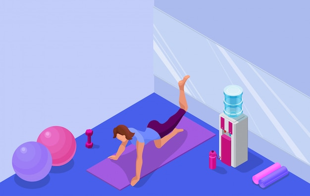 Yoga studio interior with woman doing fitness exercise