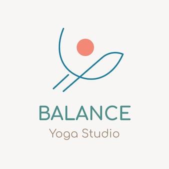 Modello di logo dello studio di yoga, vettore di design del marchio aziendale di salute e benessere