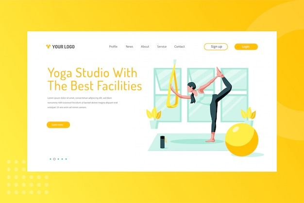 Yoga studio with the best facilities illustration on landing page