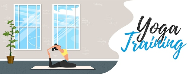 Yoga training banner in flat style. young attractive girl in sportswear practicing yoga indoor. healthy lifestyle, calmness and meditation in gym . harmonize yourself at yoga studio