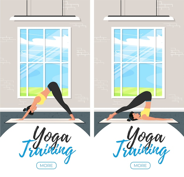 Yoga training vertical flyers in flat style. young attractive girl in sportswear practicing yoga indoor. healthy lifestyle, calmness and meditation . harmonize yourself at studio