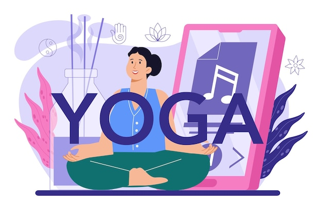 Yoga typographic header. asana or exercise for men and women. physical and mental health. body relaxation and meditation outside. isolated vector illustration