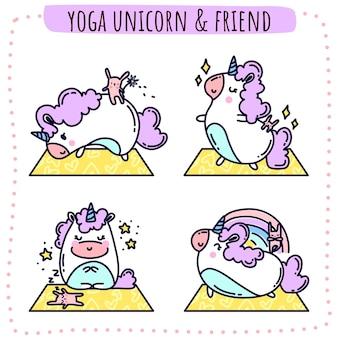 Yoga unicorn and friend vector