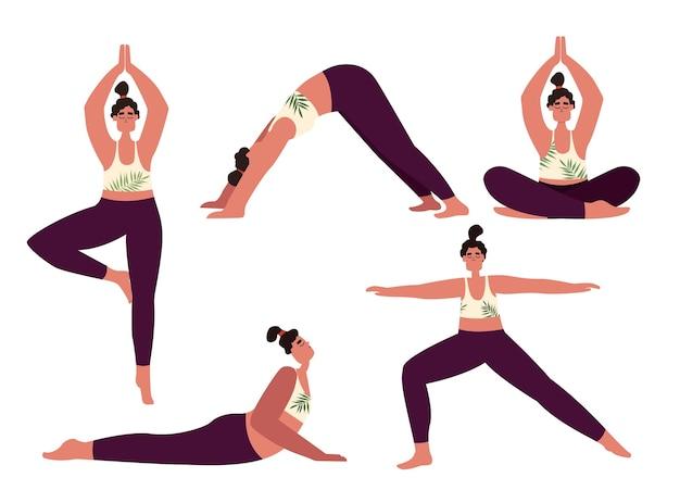 Йога женщина анасас вектор. набор девушек в разных позах фитнеса