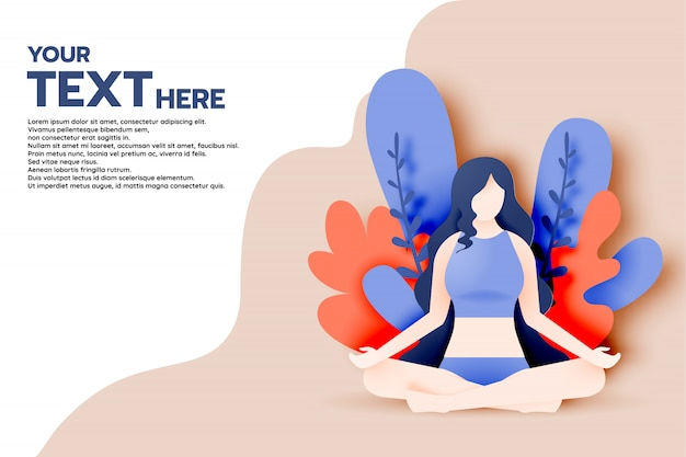 Yoga woman in paper art style and pastel color