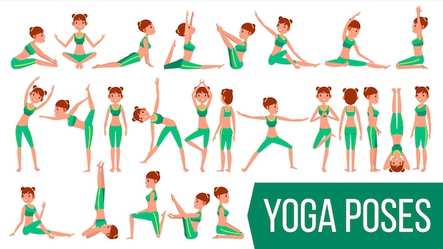 Yoga woman poses  character.