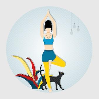 ヨガ。ツリーに立っている女性は、ヨガのポーズと瞑想をもたらします。女性の隣に猫が座っています。ベクトルイラスト。