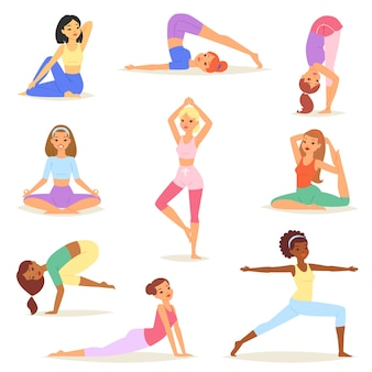 Yoga woman vector young women yogi character training flexible exercise pose illustration set of healthy girls lifestyle workout with meditation balance relaxation isolated