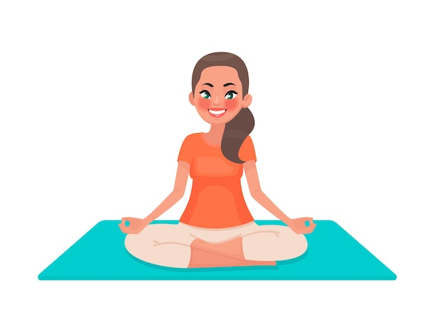 Yoga. a young girl is sitting in the lotus position. a woman is meditating.
