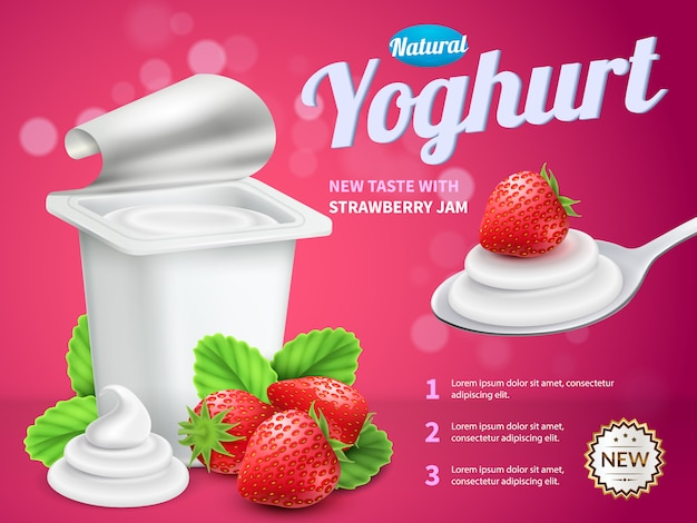 Yoghurt package advertising composition with strawberry yoghurt