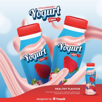 Yogurt advertising with realistic design