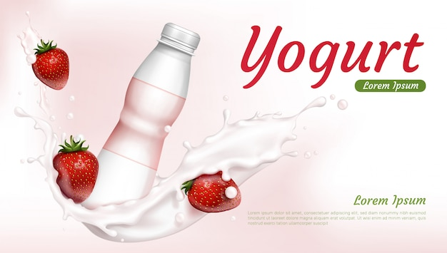 Yogurt bottle with strawberries and milk splash