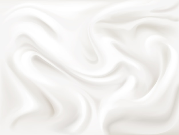 Yogurt, cream or silk texture illustration of 3d liquid white paint wavy flow pattern