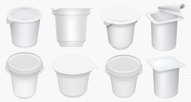 Yogurt cup. plastic yoghurt pot isolated on transparent background. blank yogurt container and cream tub template. milk dessert cup set. realistic dairy package isolated mock up