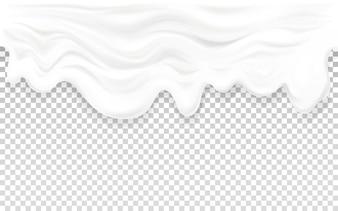 Yogurt flowing illustration of 3D milk or sour cream liquid wave