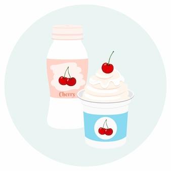 플라스틱 용기에 담긴 요구르트 건강 크림 우유 제품