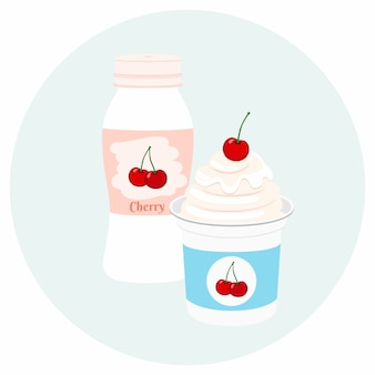 Yogurt healthy cream milk product in plastic container
