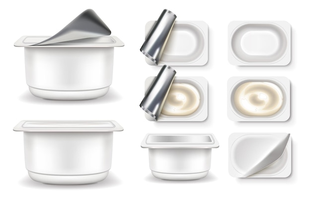 Yogurt icons set. packaging fermented milk product packages are empty and full.