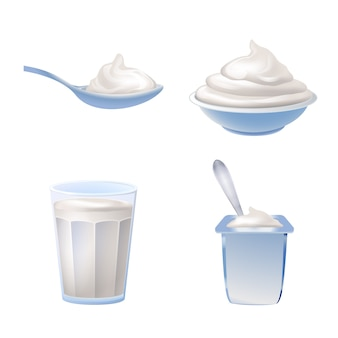 Yogurt icons set