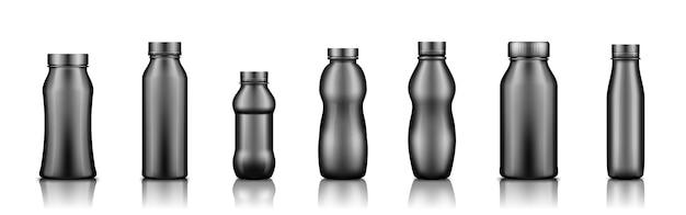 ヨーグルト、ミルク、ジュース、またはシャンプーの白い背景で隔離の黒いプラスチックボトルセットのモックアップ
