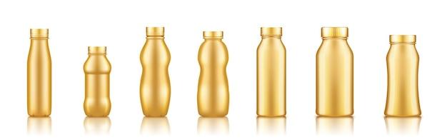 Йогурт, молоко, сок или шампунь золотая пластиковая бутылка набор макет, изолированные на белом фоне