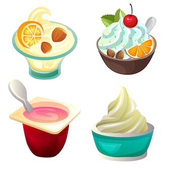 Yogurt set collection icon