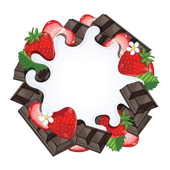 Yogurt splash isolated on chocolate and strawberry