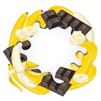 チョコレートとバナナに分離されたヨーグルトスプラッシュ